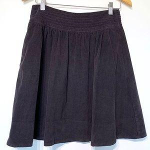 Anthropologie corduroy skirt pockets black cotton